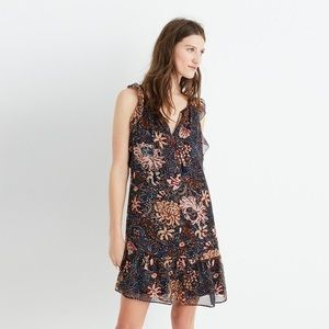 Madewell Lily Ruffle Dress In Sea Floral Sz L